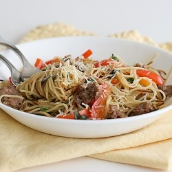 Toasted Angel Hair with Sausage and Peppers