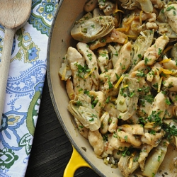 Turkey Artichoke Saute with Lemon and Rosemary