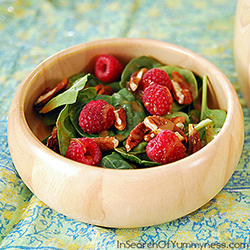 Baby Spinach Salad with Raspberries and Pecans