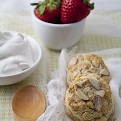Balsamic and Strawberries Meet Brown Sugar Almond Biscuits
