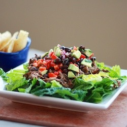 Barbacoa Beef Salad with Black Bean Avocado Salsa
