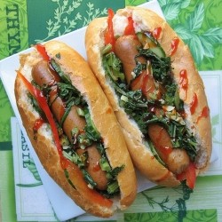 Chicken Hot Dog with Bell Peppers Recipe