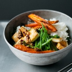 Crispy Tofu with Roasted Carrots and Fresh Snow Peas