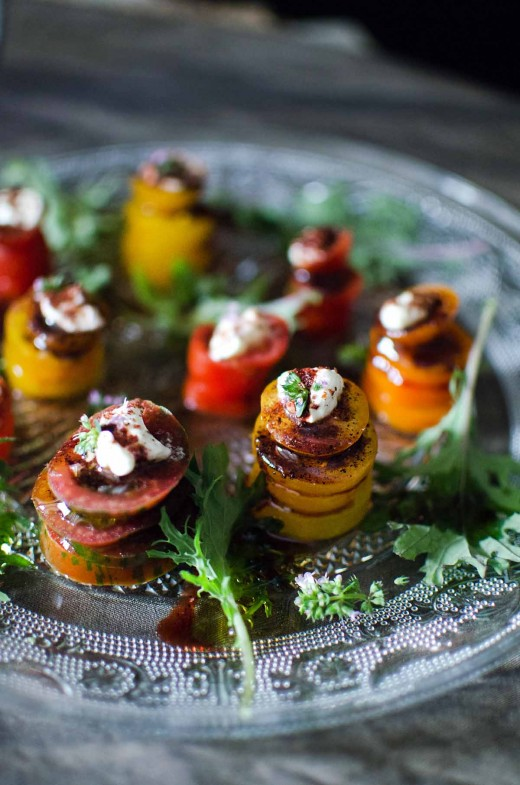 Heirloom Tomato Salad with Labne Sumac and Pomegranate Molasses