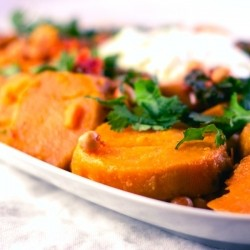 Honeyed Sweet Potatoes with Chickpeas Spinach and Mint Yogurt Sauce