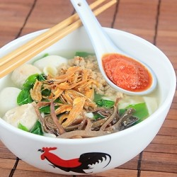 Pan Meen Noodle Soup with Fried Anchovies and Pork