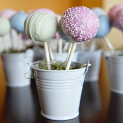 Pastel Cake Pops in Mini White Pails
