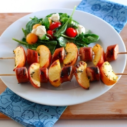 Peach Chicken Sausage Kebabs Recipe