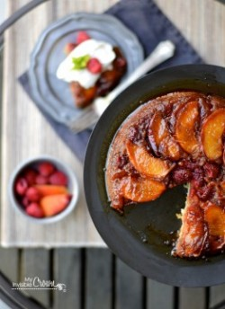 Raspberry Peach Upside Down Cake Recipe