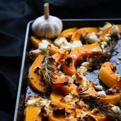 Roast Butternut Squash with Feta and Harissa Creme Fraiche Recipe