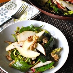 Salted Pears Walnuts Blueberries Green Salad