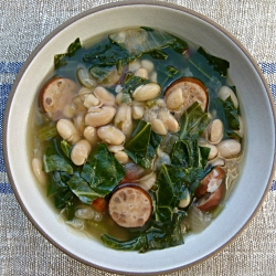 Slow Cooker White Bean Soup with Sausage and Collard Greens
