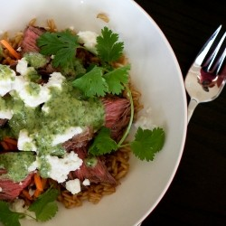 Steak and Feta Rice Bowl with Tahini Cilantro Dressing