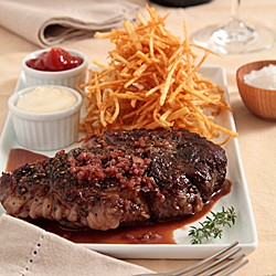 Steak au Poivre with Red Wine Sauce