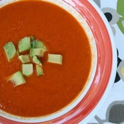A healthy delicious spicy soup features red bell peppers…