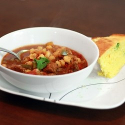Ancho Pork Hominy Stew with Jalapeno Corn Bread