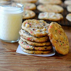 Cake Batter Double Chocolate Chip Cookies Recipe