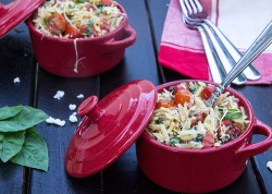 Cheesy Tomato Basil Orzo Recipe
