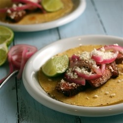 Coffee-Rubbed Steak Tacos with Pickled Red Onions