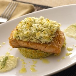 Feta Encrusted Salmon with Couscous