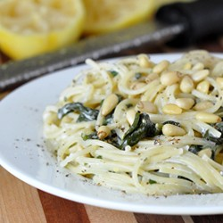 Goat Cheese Pasta with Lemon and Spinach Recipe
