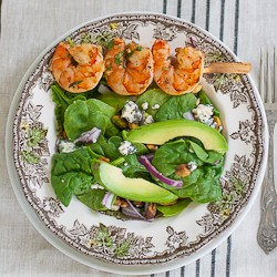 Grilled Cilantro Shrimp and Spinach Salad Recipe
