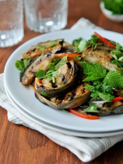 Grilled Eggplant Mint Cilantro Thai Style Recipe