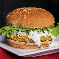 Lemon Chickpea Quinoa Burgers with Greek Yogurt Lemon Sauce and Feta Recipe