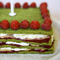 Matcha Joconde with Whipped Cream Lemon and Raspberries Recipe