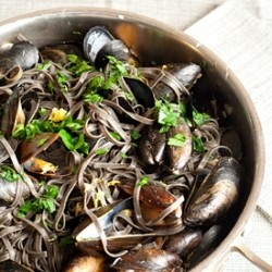 Mussels with Squid Ink Linguine Recipe