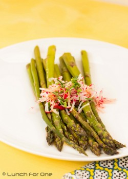 Oven Baked Asparagus with Radishes and Chives