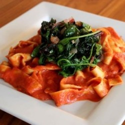 Pappardelle Pasta with Tomato Sauce and Garlic Greens