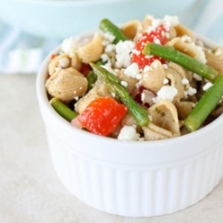 Pasta Salad with Asparagus Roasted Peppers and Goat Cheese Recipe