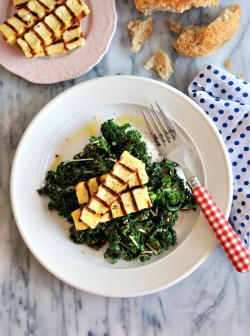 Pesto Kale with Quinoa and Halloumi Recipe