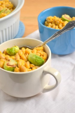 Pumpkin Mac and Cheese with Roasted Brussels Sprouts Recipe