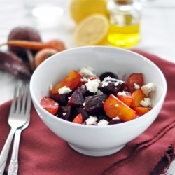 Roasted Beet Salad with Lemon Dressing and Chevre