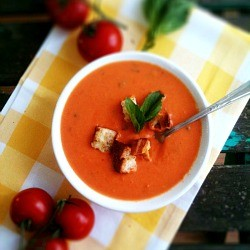Roasted Tomato Soup with Grilled Cheese Croutons Recipe