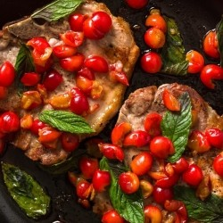 Seared Pork Chops with Tart Cherries and Mint Recipe