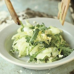 Shaved Broccoli Stalk Salad with Lime and Cotija Recipe