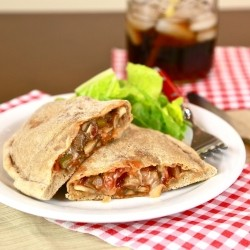 Skinny Whole Wheat Pepperoni and Cheese Calzones Recipe