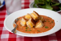 Tomato Soup with Grilled Cheese Croutons Recipe