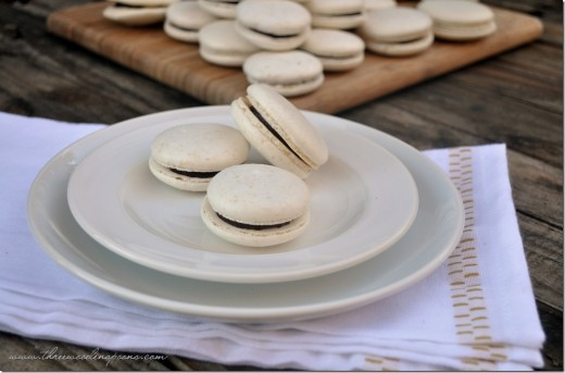 Almond Macarons with Dark Chocolate Almond Ganache Recipe