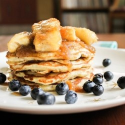 Blueberry Flax Pancakes with Caramelized Bananas
