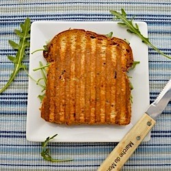 Cheddar Pear Arugula Honey Mustard Grilled Cheese Sandwich