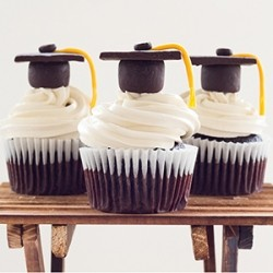 Chocolate Cupcakes with Graduation Toppers Recipe