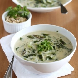 Cream of Asparagus Soup with Leeks and Collards
