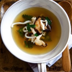 Fragrant Chicken Consomme with Udon Noodles and Shitake Mushrooms