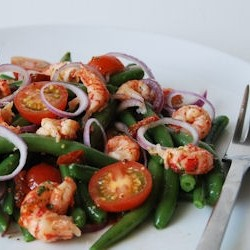 Green Bean Salad with Crayfish and Tomatoes