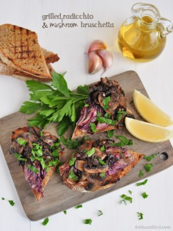 Grilled Radicchio and Garlic Mushroom Bruschetta Recipe
