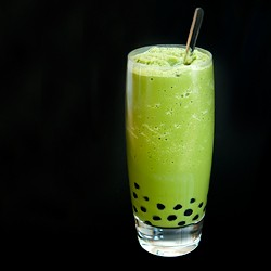 Homemade Matcha Bubble Tea Slushie